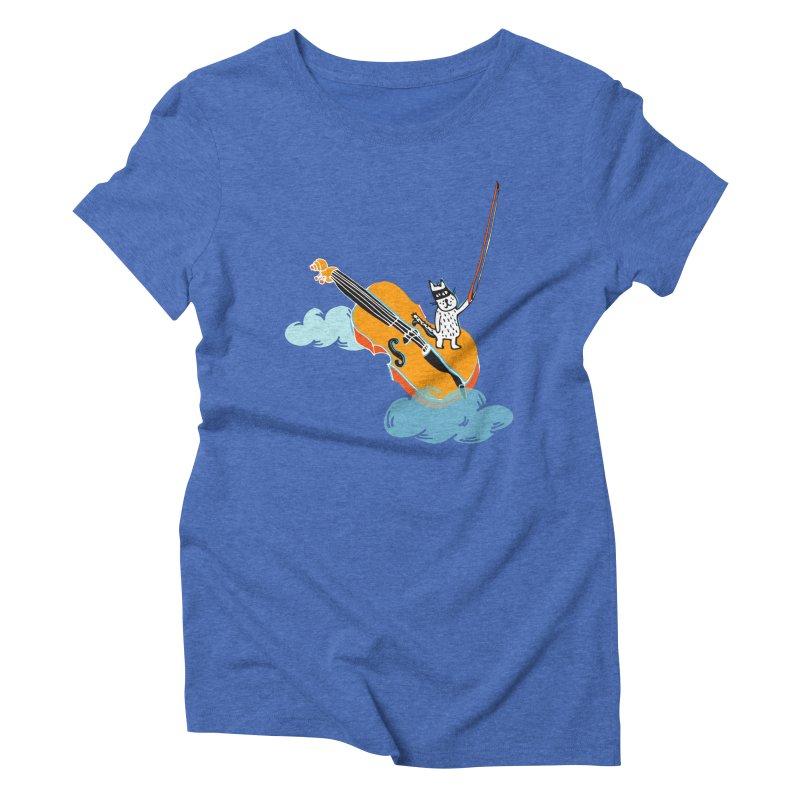 Violin Cat Women's Triblend T-shirt by julianepieper's Artist Shop