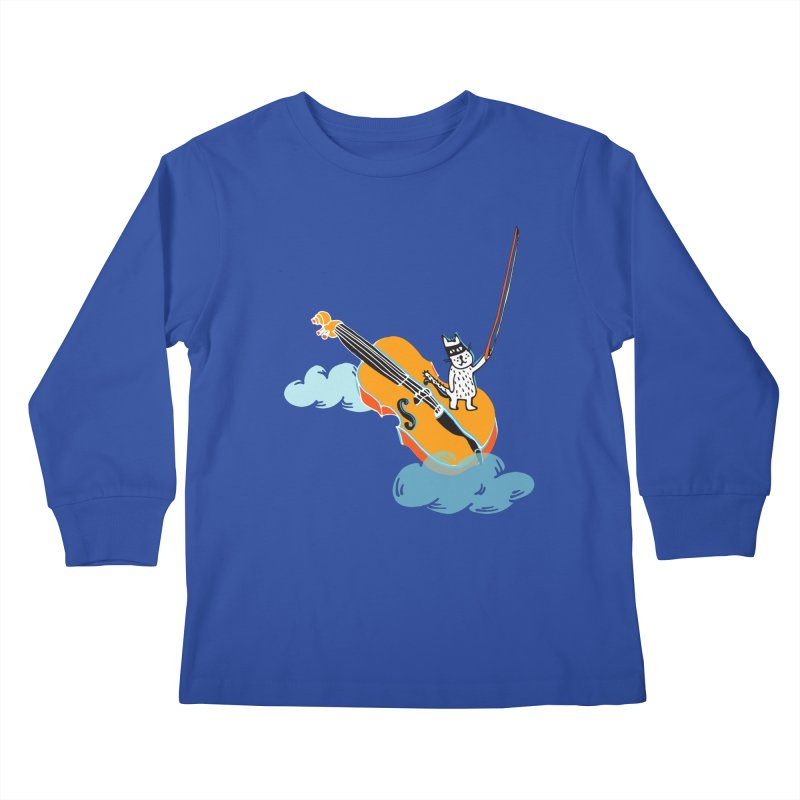 Violin Cat Kids Longsleeve T-Shirt by julianepieper's Artist Shop