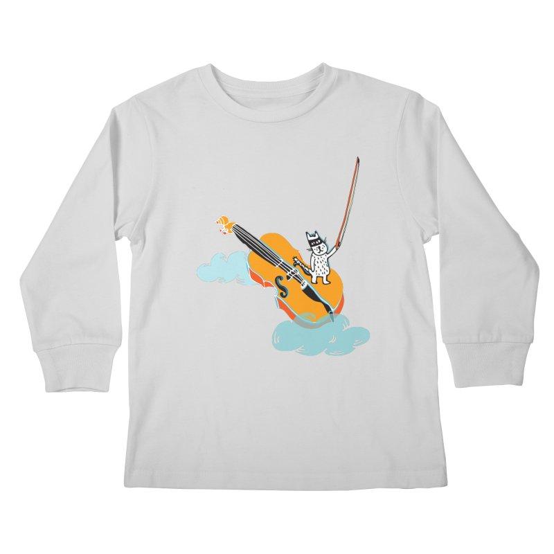 Violin Cat Kids Longsleeve T-Shirt by julianepieper's Artist Shop