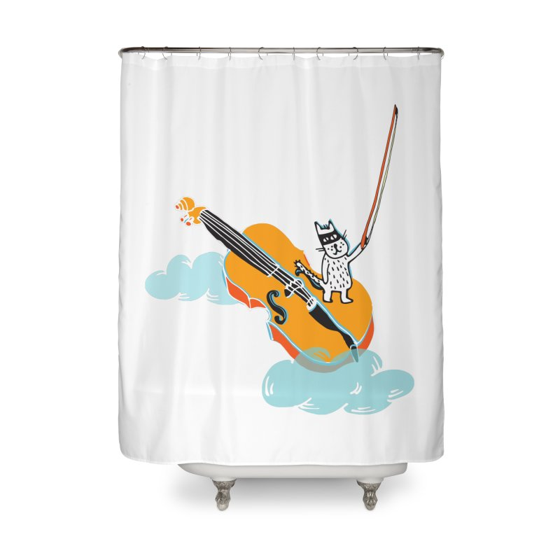 Violin Cat Home Shower Curtain by julianepieper's Artist Shop