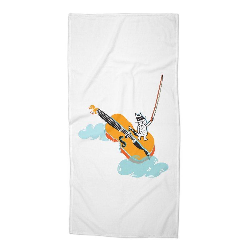 Violin Cat Accessories Beach Towel by julianepieper's Artist Shop
