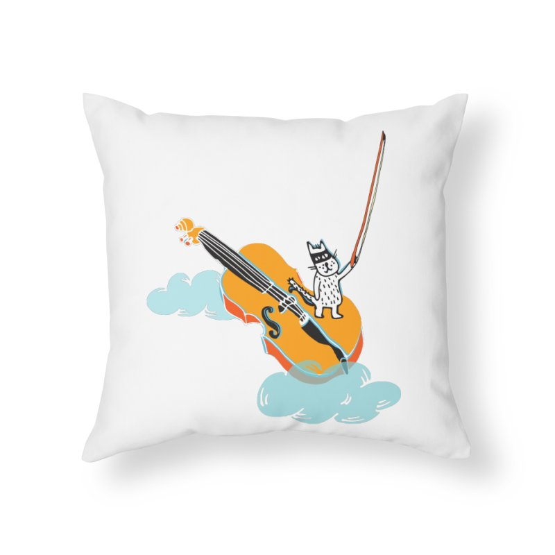 Violin Cat Home Throw Pillow by julianepieper's Artist Shop