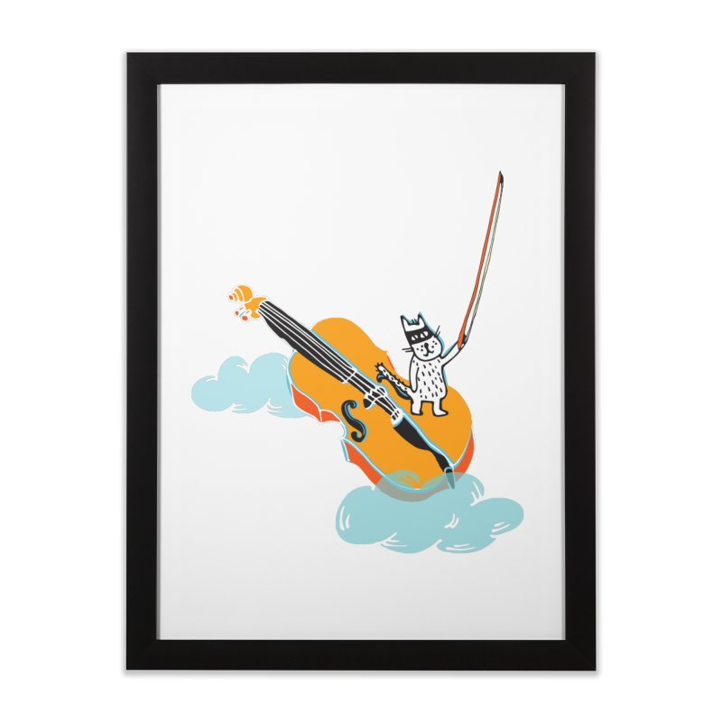Violin Cat Home Framed Fine Art Print by julianepieper's Artist Shop