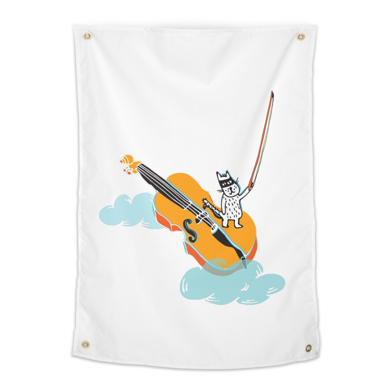Violin Cat Home Tapestry by julianepieper's Artist Shop