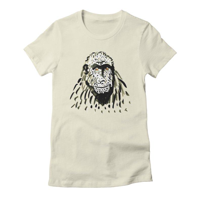 Gorilla Women's Fitted T-Shirt by julianepieper's Artist Shop