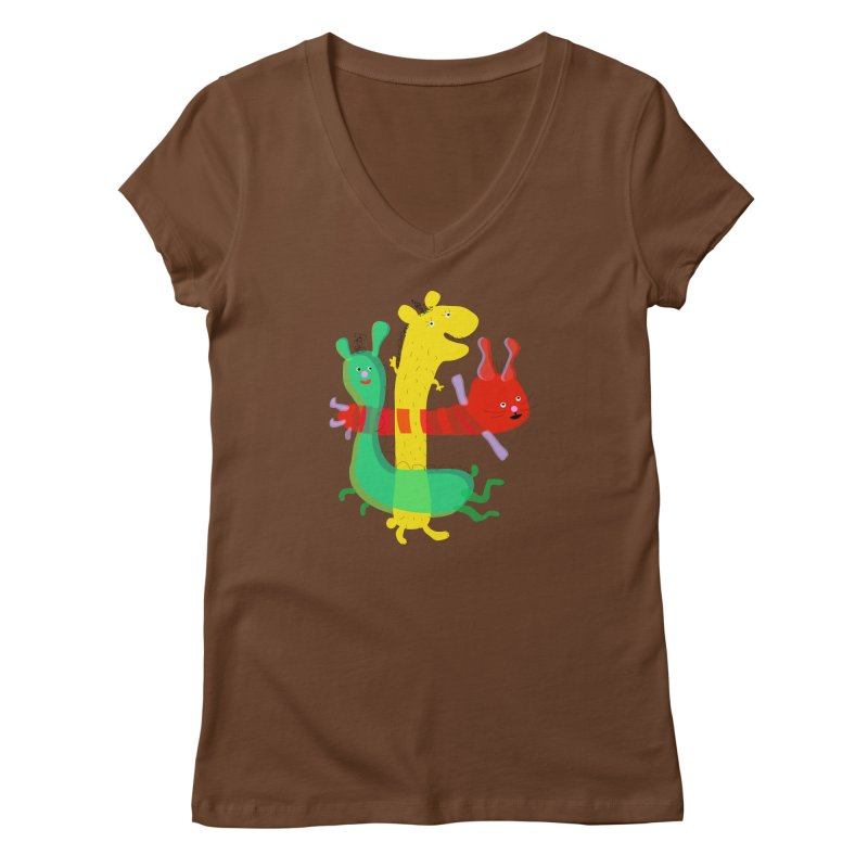 Baby Monster Party Women's V-Neck by julianepieper's Artist Shop