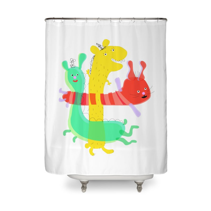 Baby Monster Party Home Shower Curtain by julianepieper's Artist Shop