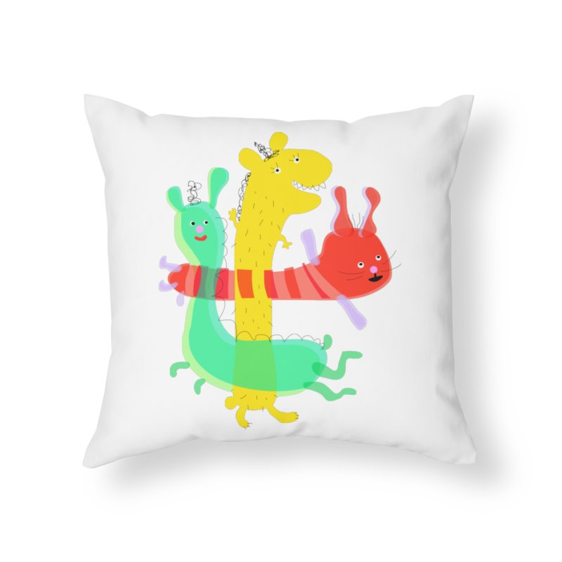 Baby Monster Party Home Throw Pillow by julianepieper's Artist Shop