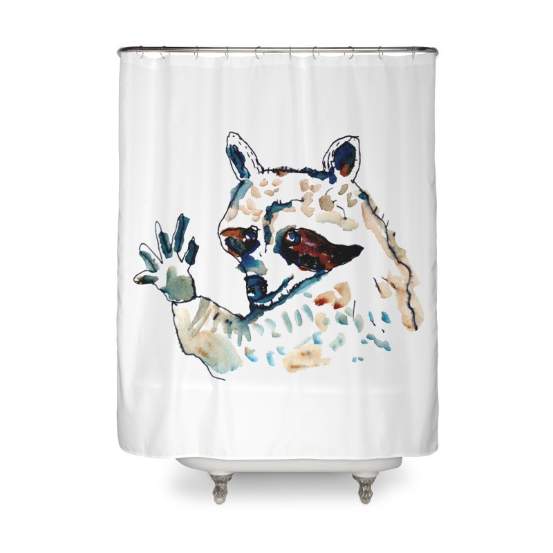 friendly racoon Home Shower Curtain by julianepieper's Artist Shop