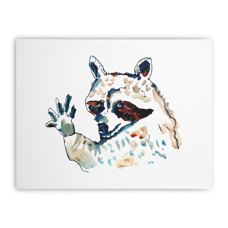 friendly racoon Home Stretched Canvas by julianepieper's Artist Shop
