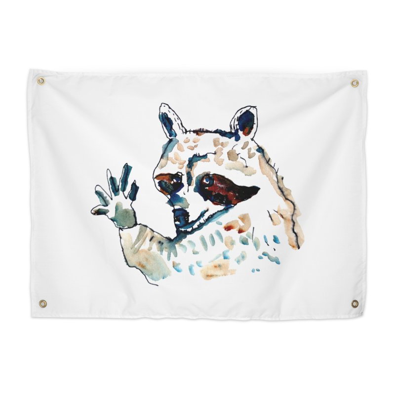 friendly racoon Home Tapestry by julianepieper's Artist Shop
