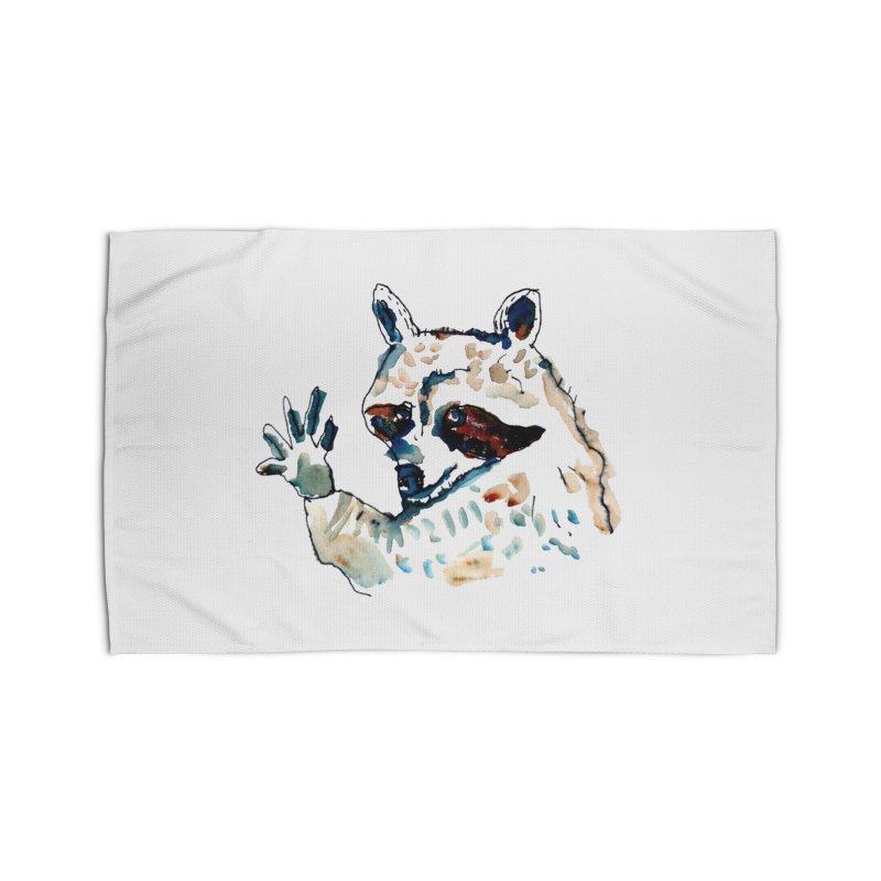 friendly racoon Home Rug by julianepieper's Artist Shop