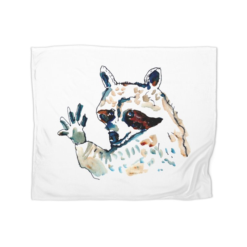 friendly racoon Home Blanket by julianepieper's Artist Shop