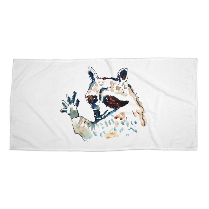 friendly racoon Accessories Beach Towel by julianepieper's Artist Shop