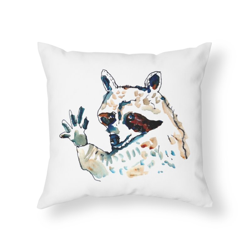 friendly racoon Home Throw Pillow by julianepieper's Artist Shop