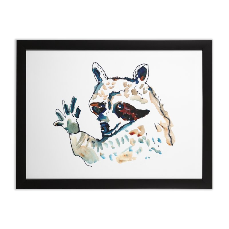friendly racoon Home Framed Fine Art Print by julianepieper's Artist Shop