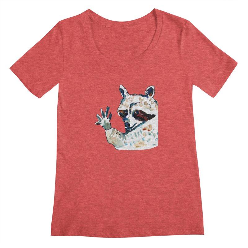 friendly racoon Women's Scoopneck by julianepieper's Artist Shop