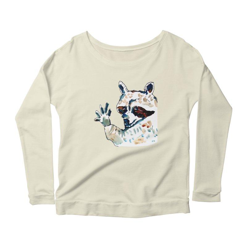 friendly racoon Women's Longsleeve Scoopneck  by julianepieper's Artist Shop