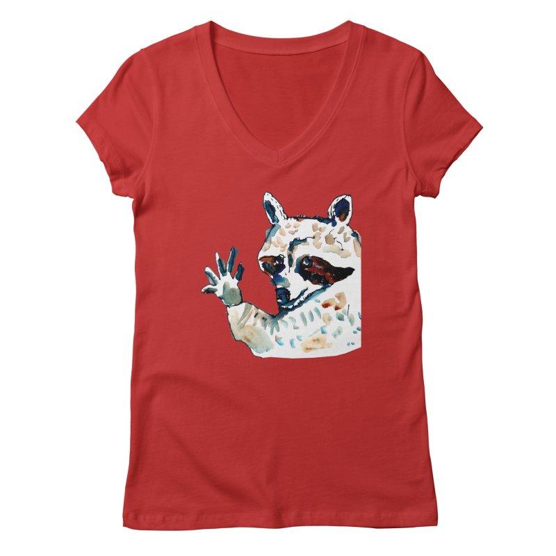 friendly racoon Women's V-Neck by julianepieper's Artist Shop