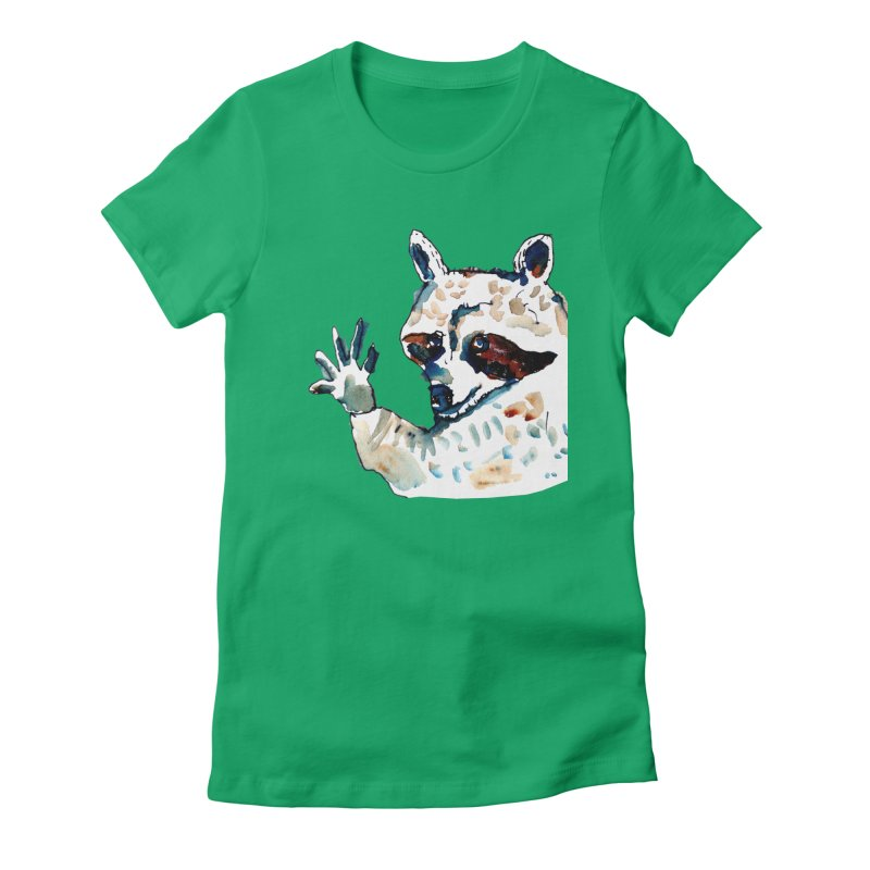 friendly racoon Women's Fitted T-Shirt by julianepieper's Artist Shop