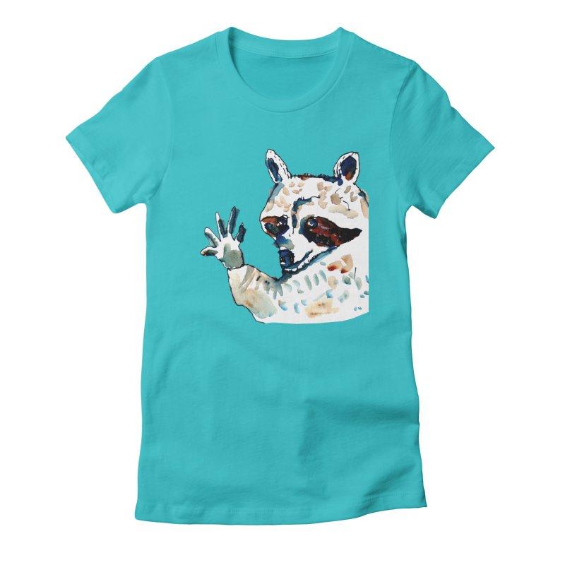friendly racoon Women's Fitted T-Shirt by julianepieper's Artist Shop