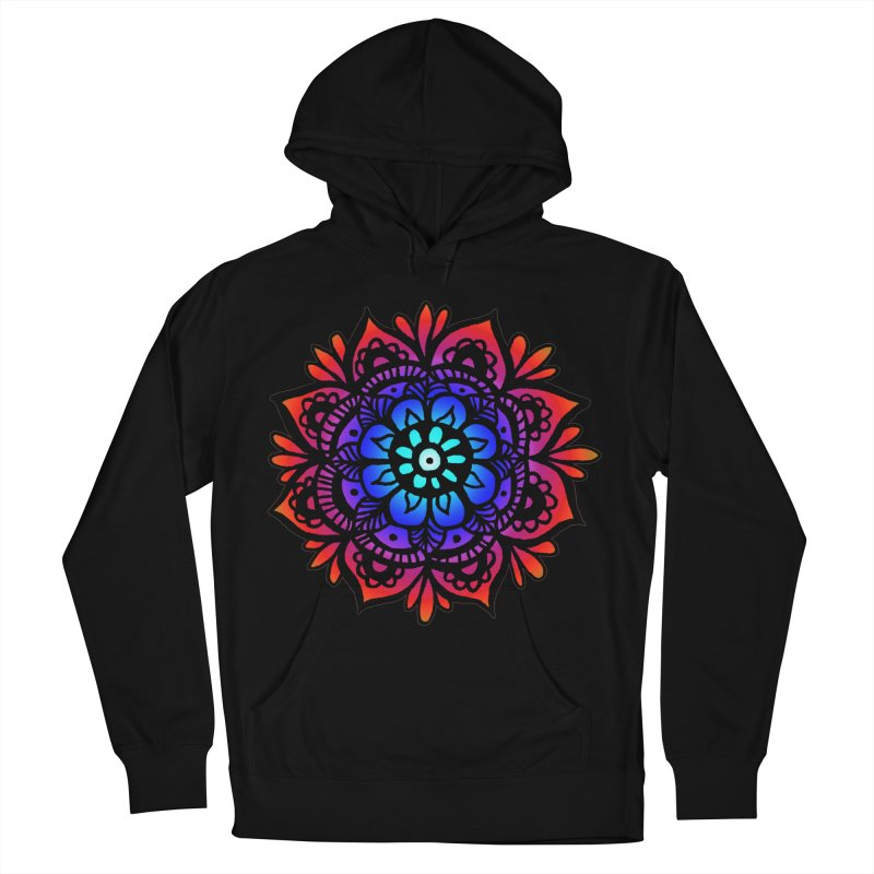 Beautiful Rainbow Mandala in Men's French Terry Pullover Hoody Black by Julie Erin Design's Shop