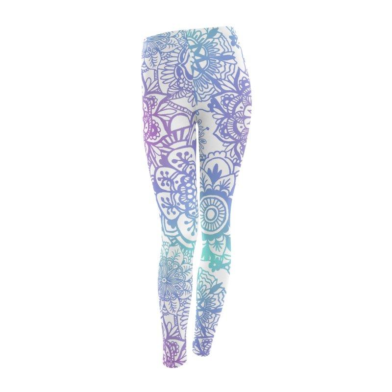 Pastel Blue and Purple Mandala Pattern in Women's Leggings Bottoms by Julie Erin Design's Shop