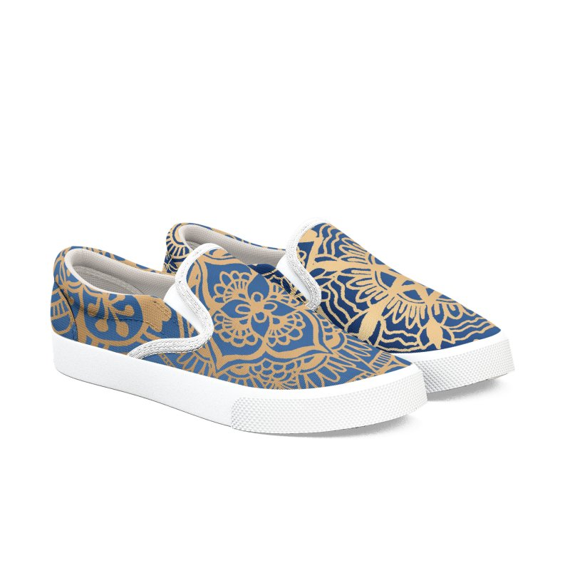 Blue and Gold Mandala Pattern in Women's Slip-On Shoes by Julie Erin Design's Shop