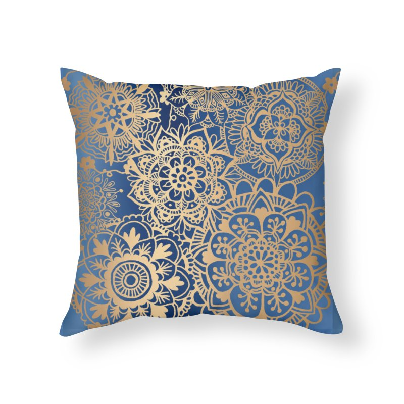 Blue and Gold Mandala Pattern in Throw Pillow by Julie Erin Design's Shop
