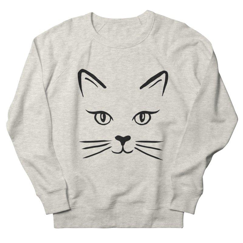 Cute Cat Face Black Line Art in Women's French Terry Sweatshirt Heather Oatmeal by Julie Erin Design's Shop