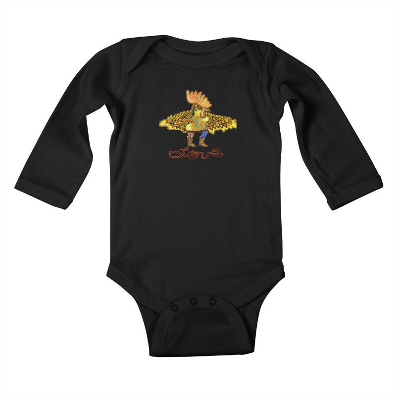 Charli the River Chicken Kids Baby Longsleeve Bodysuit by Julie Murphy's Artist Shop