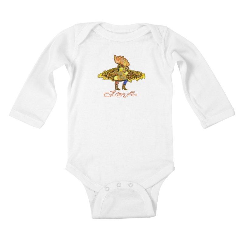 Charli the River Chicken Kids Baby Longsleeve Bodysuit by Julie Murphy's Artist Shop