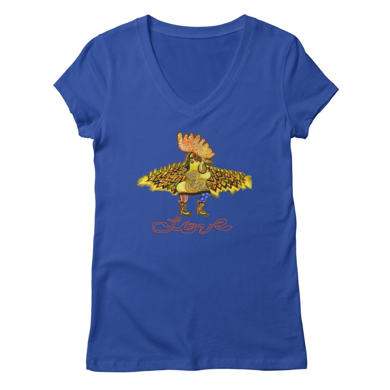 Charli the River Chicken Women's V-Neck by Julie Murphy's Artist Shop
