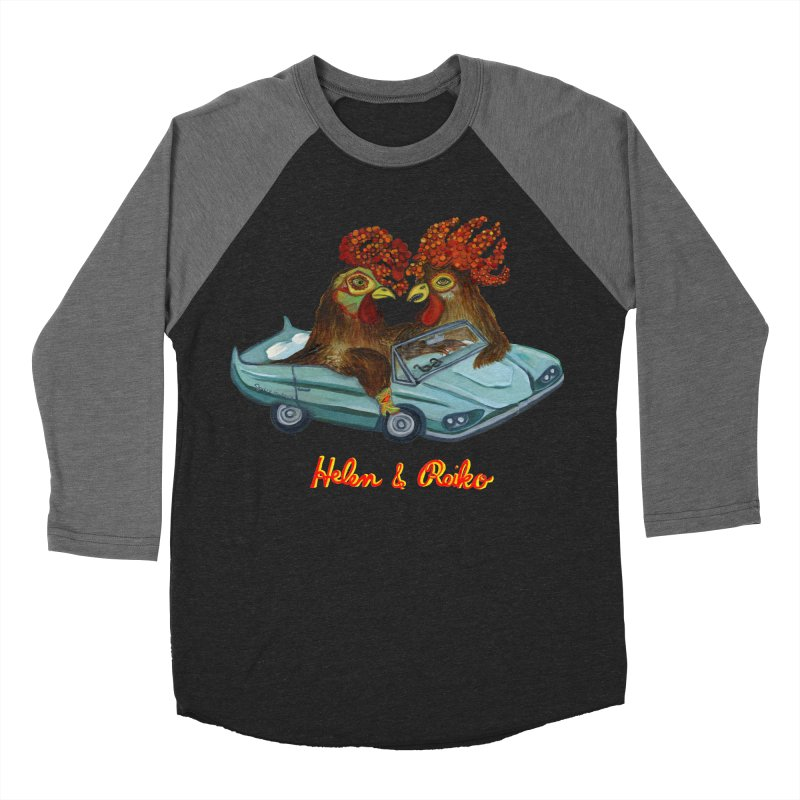 Helen & Reiko in Women's Baseball Triblend Longsleeve T-Shirt Grey Triblend Sleeves by Julie Murphy's Artist Shop