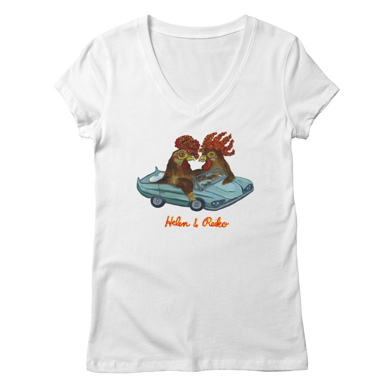 Helen & Reiko Women's V-Neck by Julie Murphy's Artist Shop
