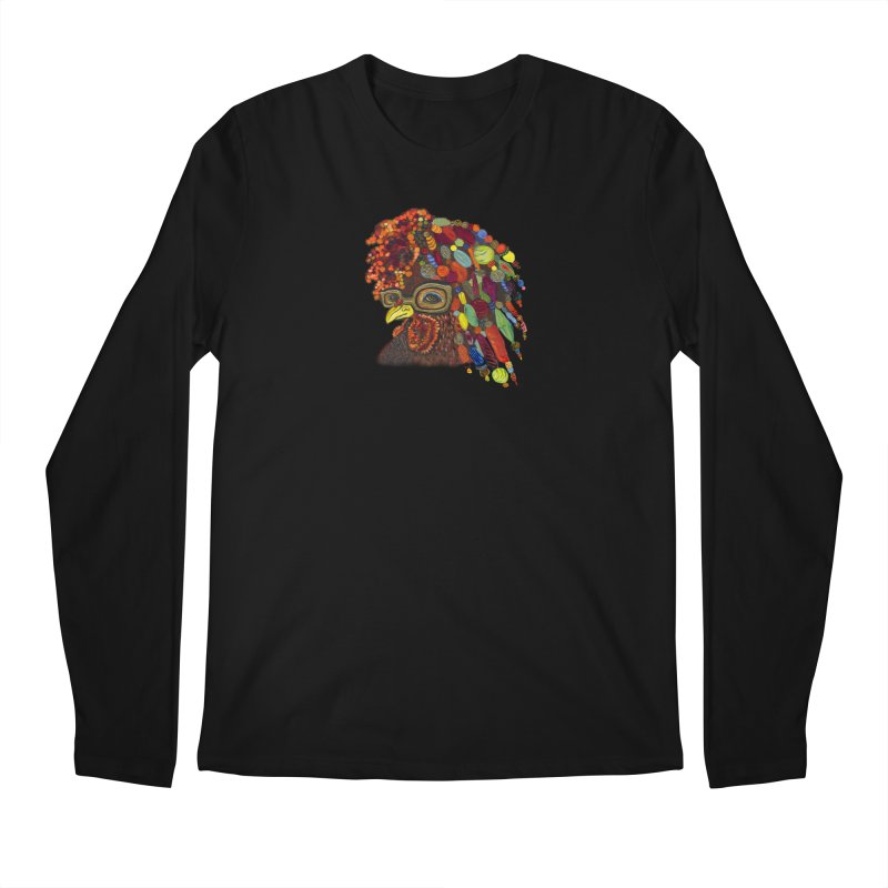 Mardi Gras Rooster Men's Regular Longsleeve T-Shirt by Julie Murphy's Artist Shop