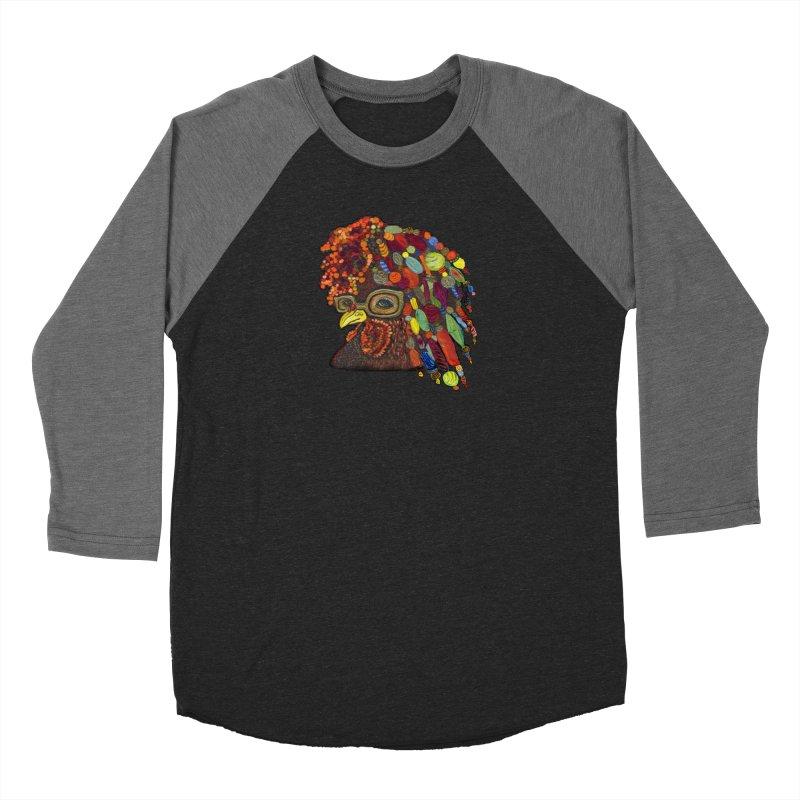 Mardi Gras Rooster Men's Baseball Triblend Longsleeve T-Shirt by Julie Murphy's Artist Shop