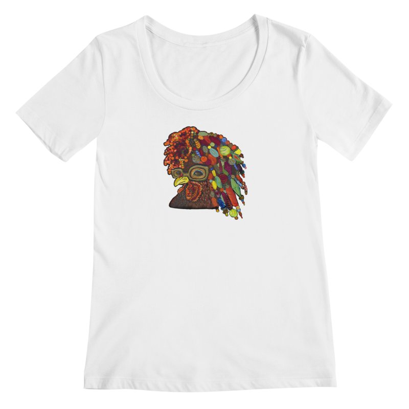 Mardi Gras Rooster Women's Regular Scoop Neck by Julie Murphy's Artist Shop