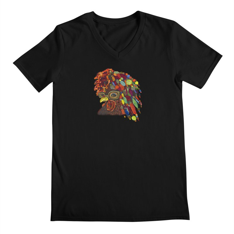 Mardi Gras Rooster Men's V-Neck by Julie Murphy's Artist Shop