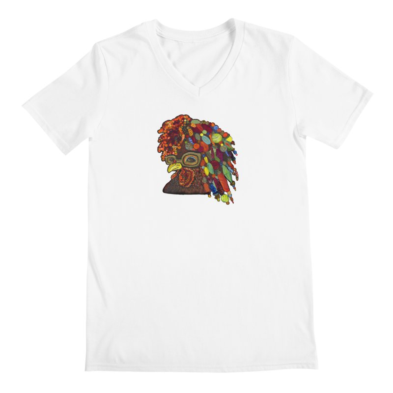 Mardi Gras Rooster Men's Regular V-Neck by Julie Murphy's Artist Shop