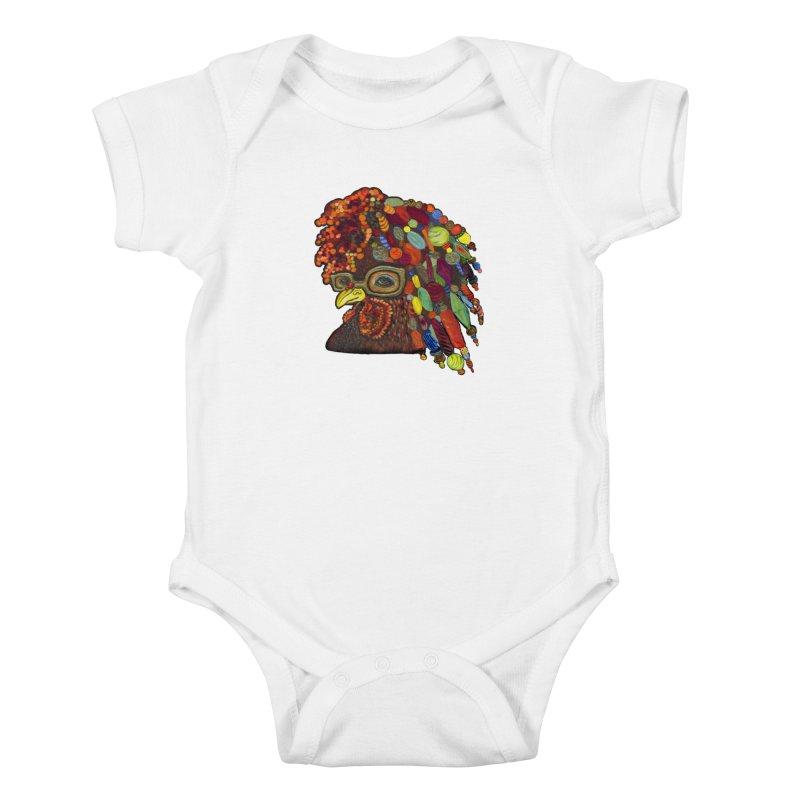 Mardi Gras Rooster Kids Baby Bodysuit by Julie Murphy's Artist Shop