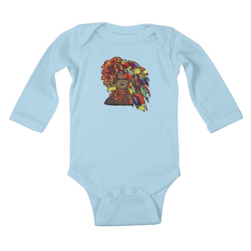 Mardi Gras Rooster Kids Baby Longsleeve Bodysuit by Julie Murphy's Artist Shop