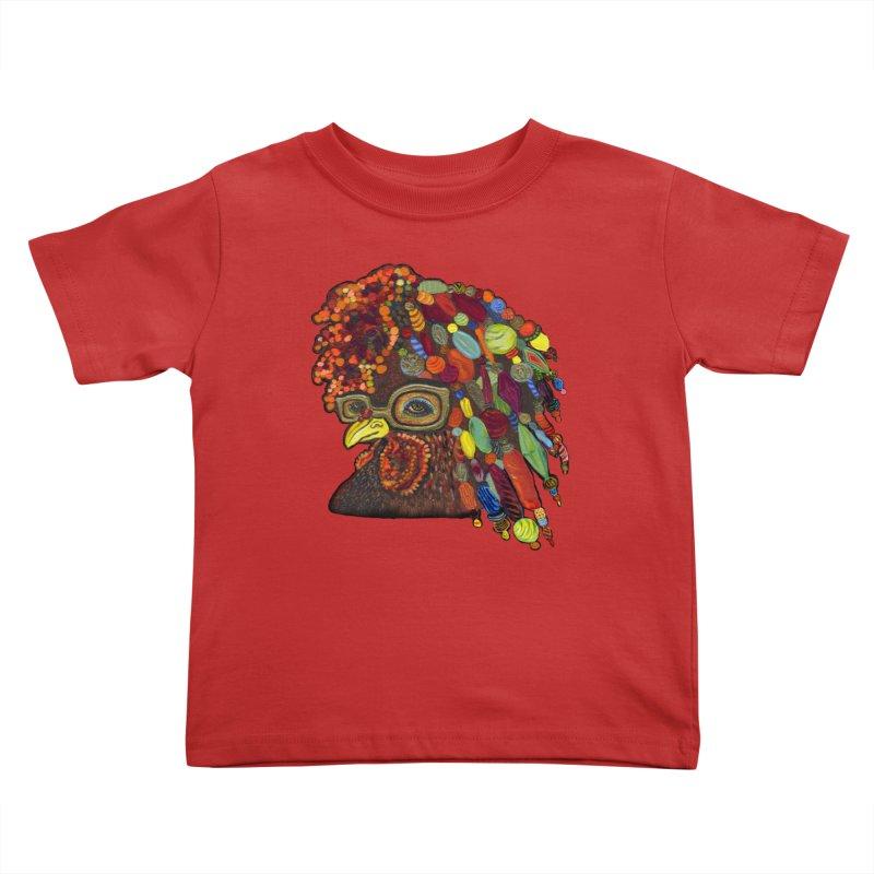 Mardi Gras Rooster Kids Toddler T-Shirt by Julie Murphy's Artist Shop