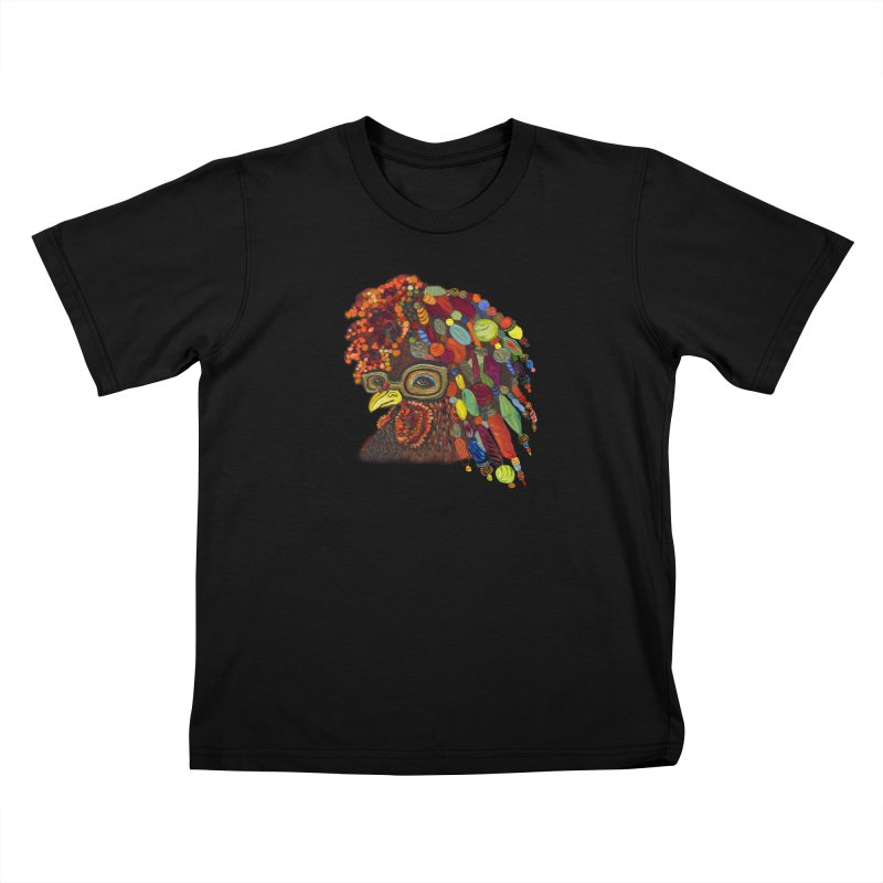 Mardi Gras Rooster Kids T-Shirt by Julie Murphy's Artist Shop