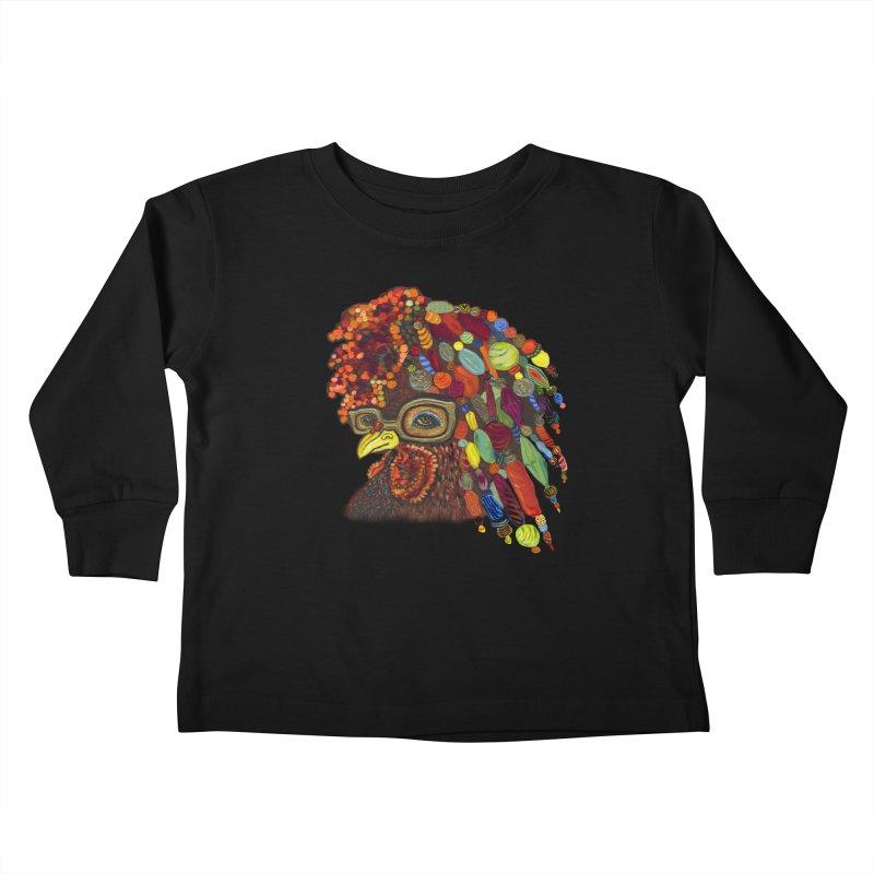 Mardi Gras Rooster Kids Toddler Longsleeve T-Shirt by Julie Murphy's Artist Shop