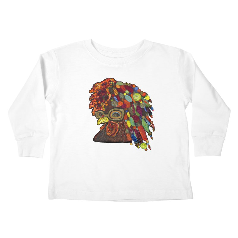 Mardi Gras Rooster Kids Toddler Longsleeve T-Shirt by Julie Murphy's Artist Shop