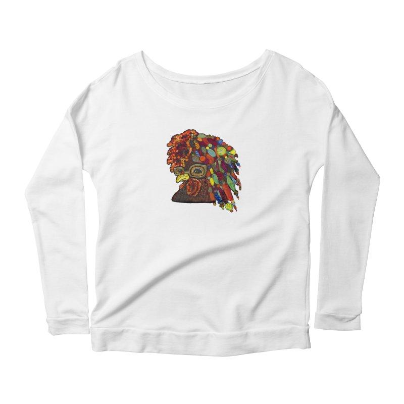 Mardi Gras Rooster Women's Scoop Neck Longsleeve T-Shirt by Julie Murphy's Artist Shop