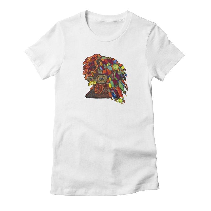 Mardi Gras Rooster Women's Fitted T-Shirt by Julie Murphy's Artist Shop