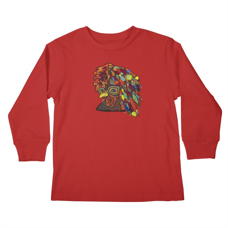 Mardi Gras Rooster Kids Longsleeve T-Shirt by Julie Murphy's Artist Shop