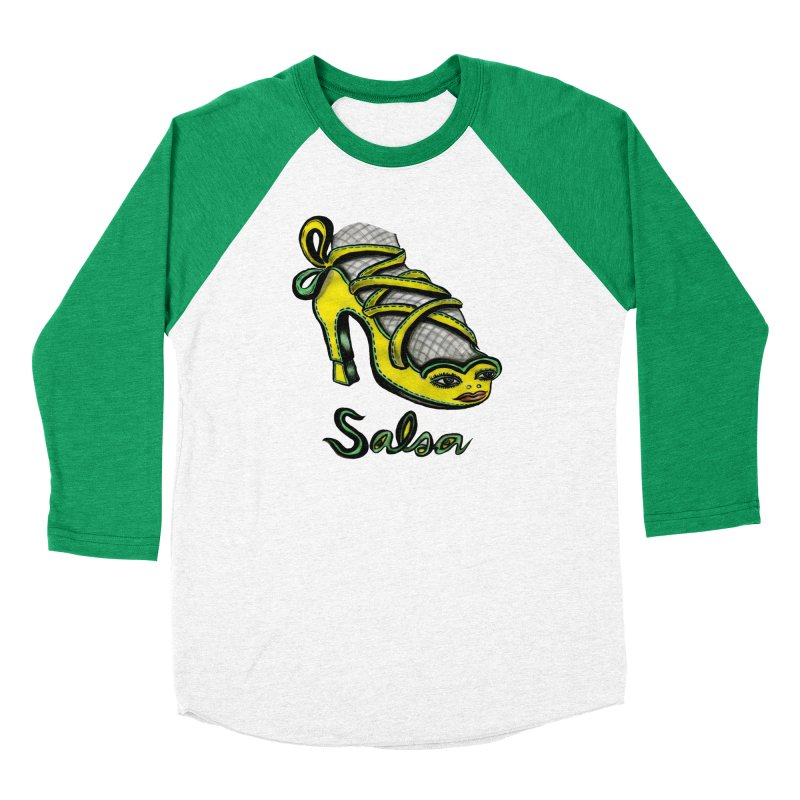 Magic Salsa Shoe in Women's Baseball Triblend T-Shirt Tri-Kelly Sleeves by Julie Murphy's Artist Shop